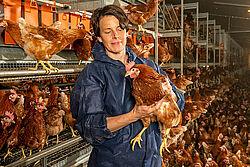 Im Stall: Frau hält Huhn im Arm.