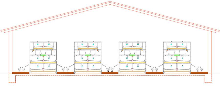 Zeichnung Geflügelstall mit vier Volierenreihen